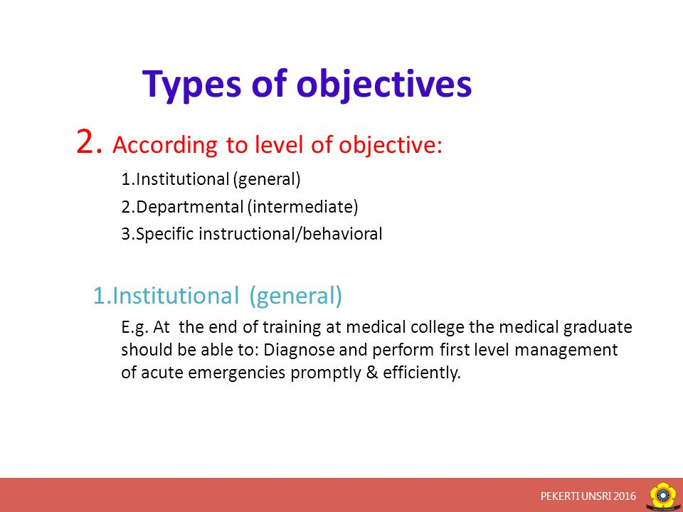 Types of objectives 2.