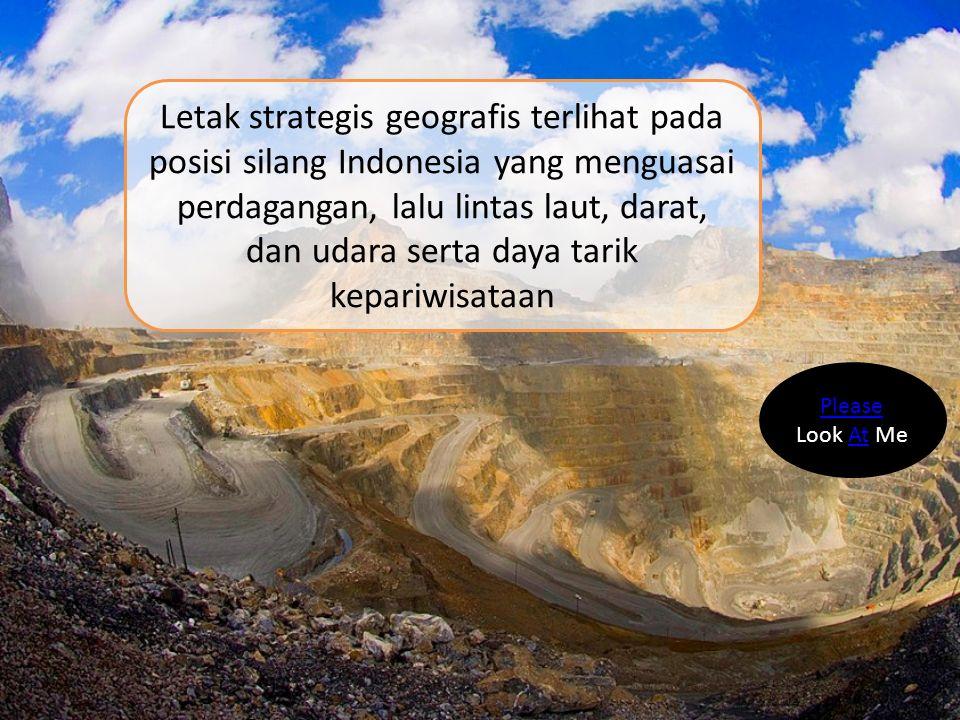 Letak strategis geografis terlihat pada posisi silang Indonesia yang menguasai perdagangan, lalu lintas laut, darat, dan udara serta daya tarik kepari