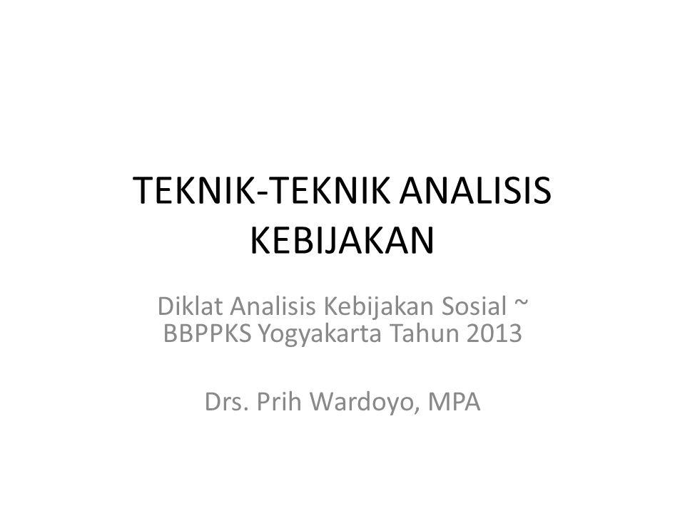 TEKNIK-TEKNIK ANALISIS KEBIJAKAN Diklat Analisis Kebijakan Sosial ~ BBPPKS Yogyakarta Tahun 2013 Drs. Prih Wardoyo, MPA