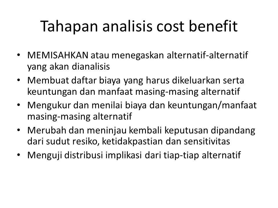 Tahapan analisis cost benefit MEMISAHKAN atau menegaskan alternatif-alternatif yang akan dianalisis Membuat daftar biaya yang harus dikeluarkan serta keuntungan dan manfaat masing-masing alternatif Mengukur dan menilai biaya dan keuntungan/manfaat masing-masing alternatif Merubah dan meninjau kembali keputusan dipandang dari sudut resiko, ketidakpastian dan sensitivitas Menguji distribusi implikasi dari tiap-tiap alternatif