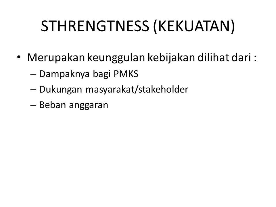 STHRENGTNESS (KEKUATAN) Merupakan keunggulan kebijakan dilihat dari : – Dampaknya bagi PMKS – Dukungan masyarakat/stakeholder – Beban anggaran