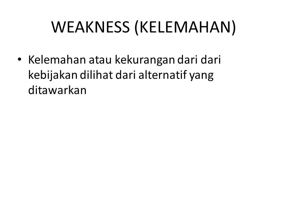 WEAKNESS (KELEMAHAN) Kelemahan atau kekurangan dari dari kebijakan dilihat dari alternatif yang ditawarkan