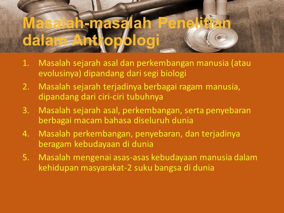 Ilmu-ilmu Bagian Antropologi Antropologi biologi/fisik Paleoantropologi Antropologi fisik Antropologi budaya/sosial Prehistorik Etnolinguistik Etnologi Etnopsikologi Antropologi spesialisasi (ekonomi, politik, kesehatan, kependudukan, pendidikan, perkotaan, hukum, dll) Antropologi terapan