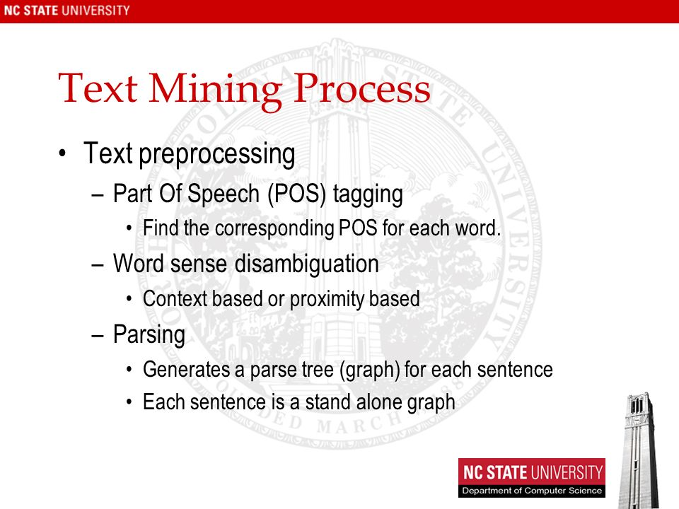 Text Mining Process Text preprocessing –Part Of Speech (POS) tagging Find the corresponding POS for each word.