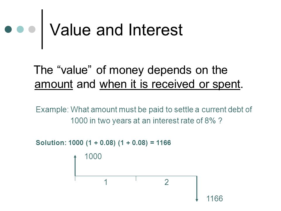 Value and Interest The value of money depends on the amount and when it is received or spent.