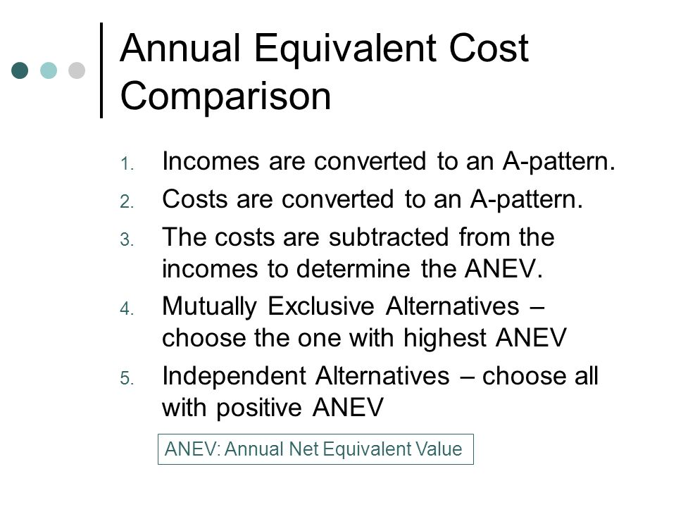 Annual Equivalent Cost Comparison 1. Incomes are converted to an A-pattern.