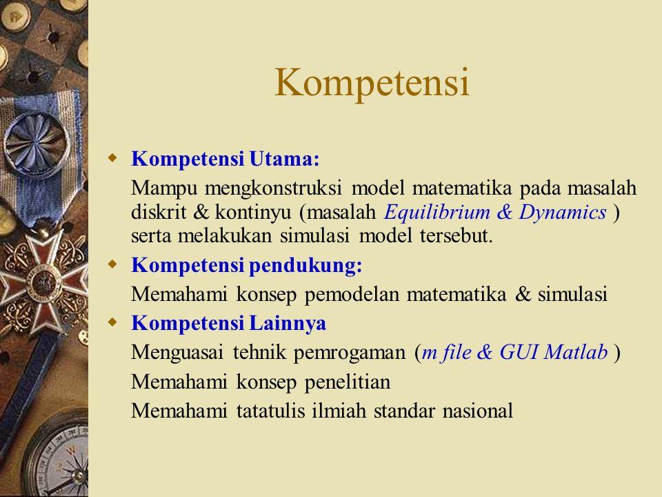 Kompetensi  Kompetensi Utama: Mampu mengkonstruksi model matematika pada masalah diskrit & kontinyu (masalah Equilibrium & Dynamics ) serta melakukan simulasi model tersebut.