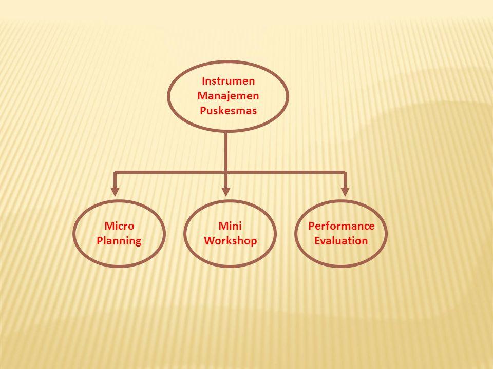 Instrumen Manajemen Puskesmas Micro Planning Mini Workshop Performance Evaluation