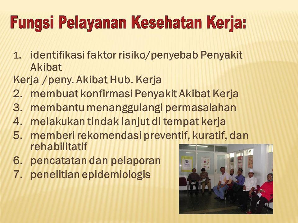 1. identifikasi faktor risiko/penyebab Penyakit Akibat Kerja/peny. Akibat Hub. Kerja 2.membuat konfirmasi Penyakit Akibat Kerja 3.membantu menanggulan