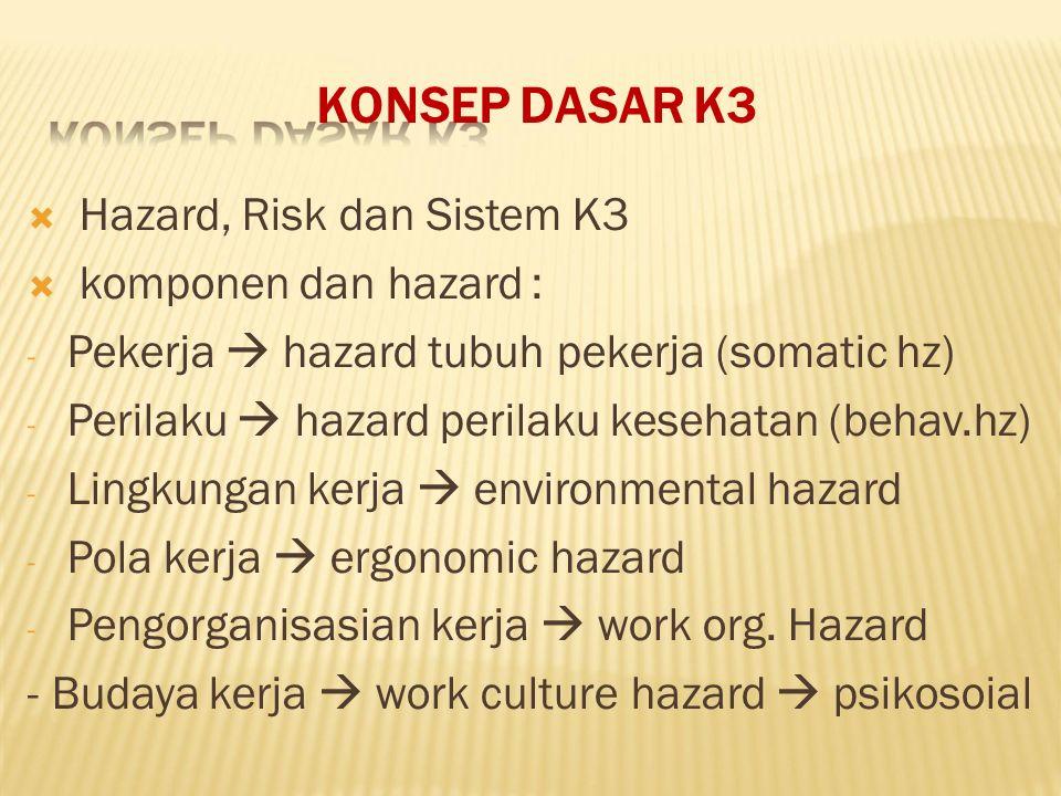 KONSEP DASAR K3  Hazard, Risk dan Sistem K3  komponen dan hazard : - Pekerja  hazard tubuh pekerja (somatic hz) - Perilaku  hazard perilaku keseha