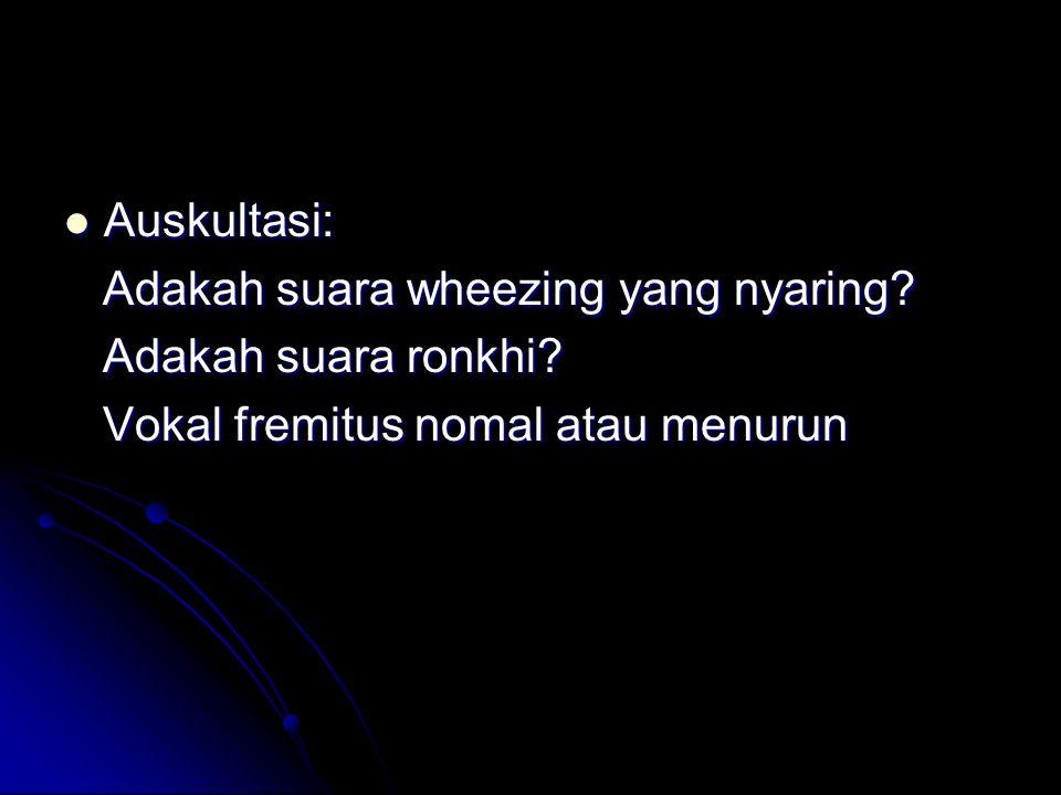 Auskultasi: Auskultasi: Adakah suara wheezing yang nyaring? Adakah suara wheezing yang nyaring? Adakah suara ronkhi? Adakah suara ronkhi? Vokal fremit