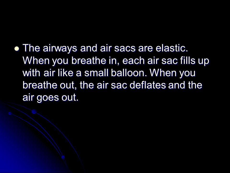 The airways and air sacs are elastic.
