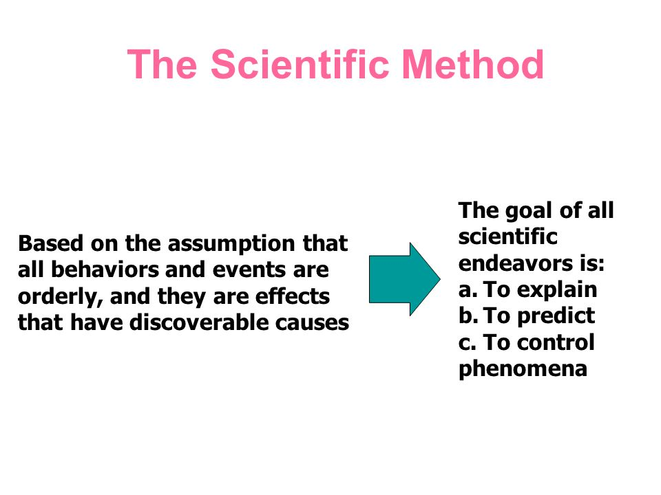 The Scientific Method The goal of all scientific endeavors is: a.To explain b.To predict c.To control phenomena Based on the assumption that all behaviors and events are orderly, and they are effects that have discoverable causes