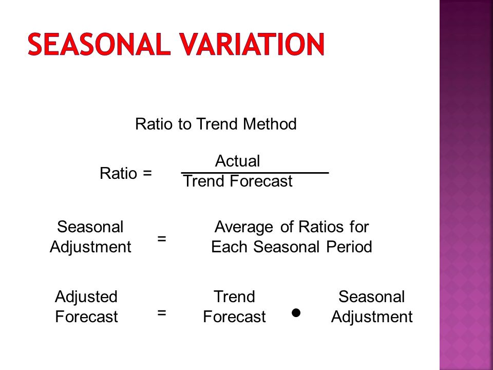 Ratio to Trend Method Actual Trend Forecast Ratio = Seasonal Adjustment = Average of Ratios for Each Seasonal Period Adjusted Forecast = Trend Forecast Seasonal Adjustment