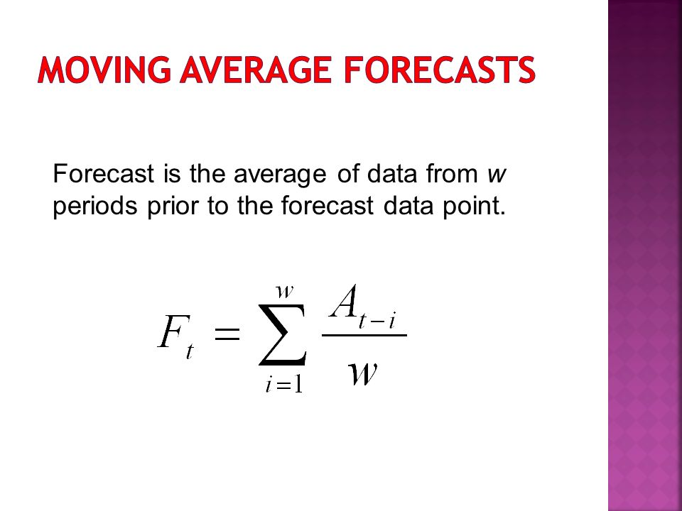Forecast is the average of data from w periods prior to the forecast data point.