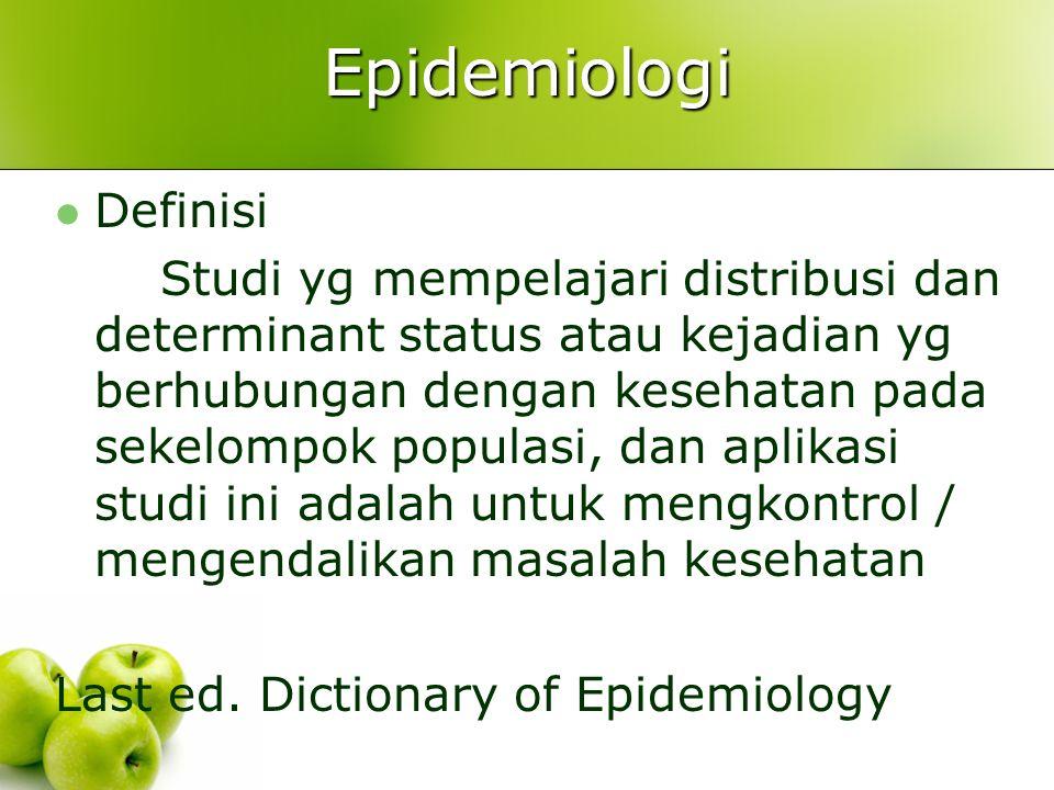 Epidemiologi Definisi Studi yg mempelajari distribusi dan determinant status atau kejadian yg berhubungan dengan kesehatan pada sekelompok populasi, dan aplikasi studi ini adalah untuk mengkontrol / mengendalikan masalah kesehatan Last ed.