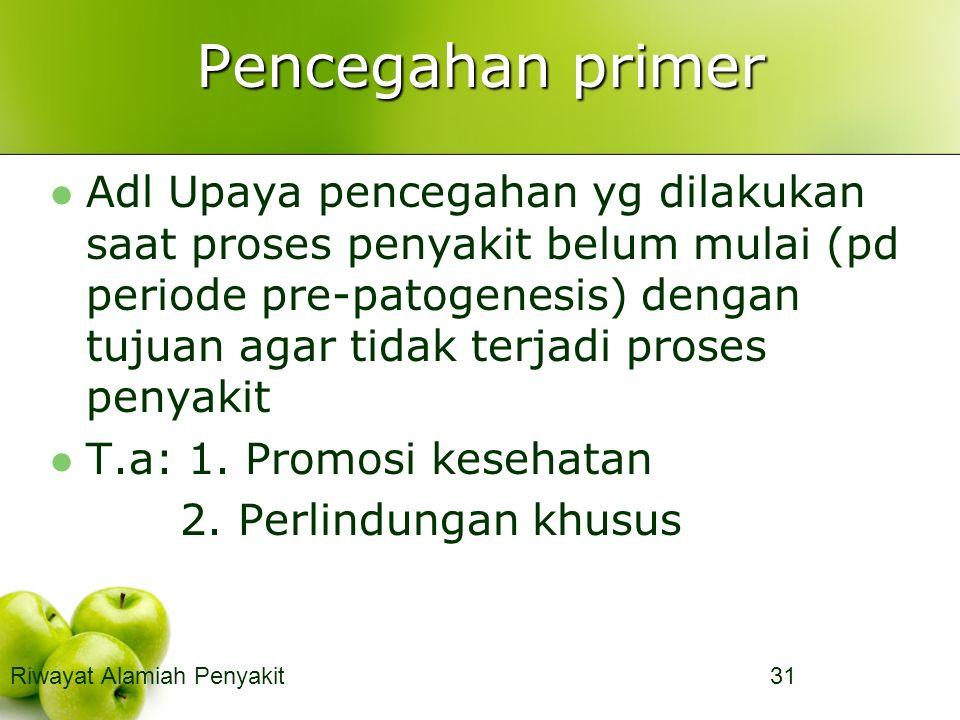 Pencegahan primer Adl Upaya pencegahan yg dilakukan saat proses penyakit belum mulai (pd periode pre-patogenesis) dengan tujuan agar tidak terjadi proses penyakit T.a: 1.