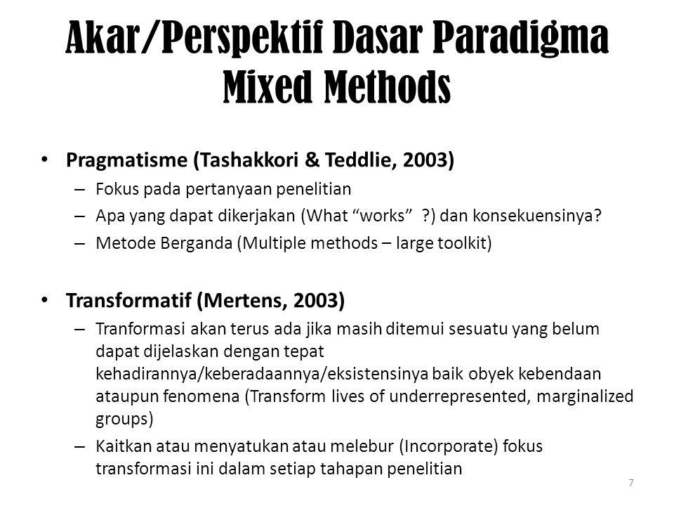 7 Akar/Perspektif Dasar Paradigma Mixed Methods Pragmatisme (Tashakkori & Teddlie, 2003) – Fokus pada pertanyaan penelitian – Apa yang dapat dikerjakan (What works ) dan konsekuensinya.