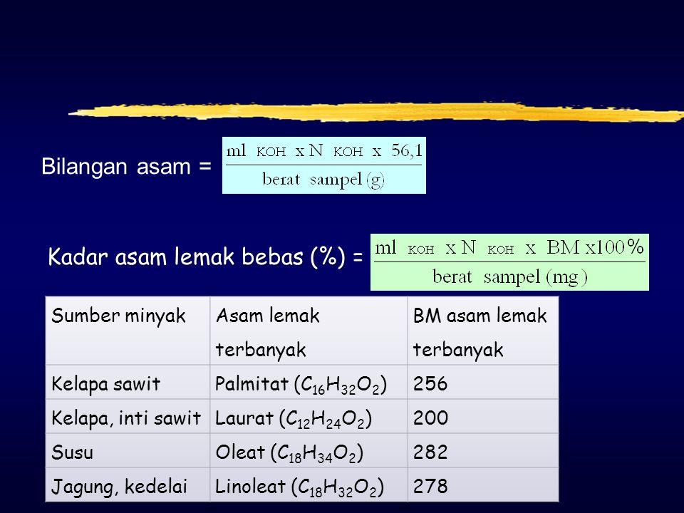 Acid value (bilangan asam) zBilangan asam atau nilai asam dan juga dikenal dengan indeks keasaman. z Didefinisikan sebagai banyaknya miligram kalium h