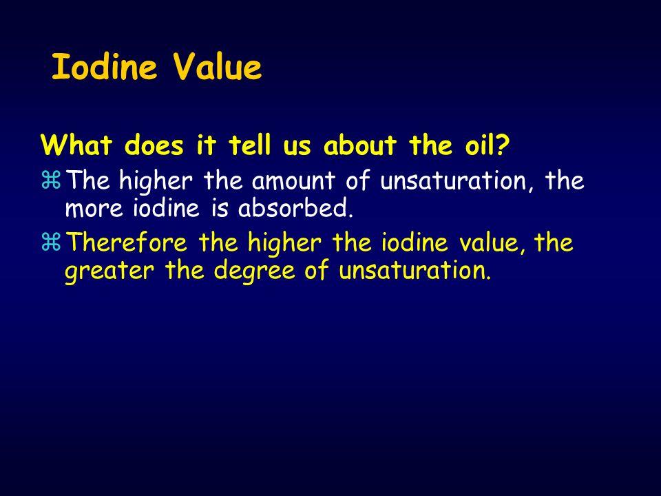 Bilangan iodium zBilangan iodium atau angka iodium didefinisikan sebagai banyaknya iodium yang diserap oleh 100 gram minyak, lemak. z Bilangan ini mer