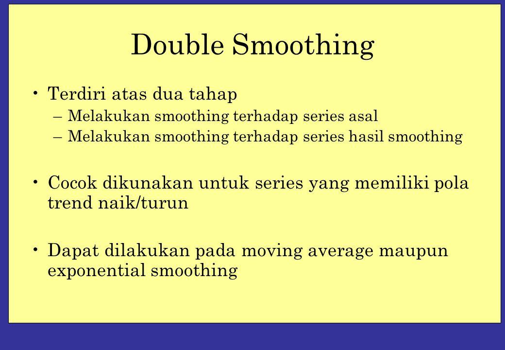 Double Smoothing Terdiri atas dua tahap –Melakukan smoothing terhadap series asal –Melakukan smoothing terhadap series hasil smoothing Cocok dikunakan untuk series yang memiliki pola trend naik/turun Dapat dilakukan pada moving average maupun exponential smoothing