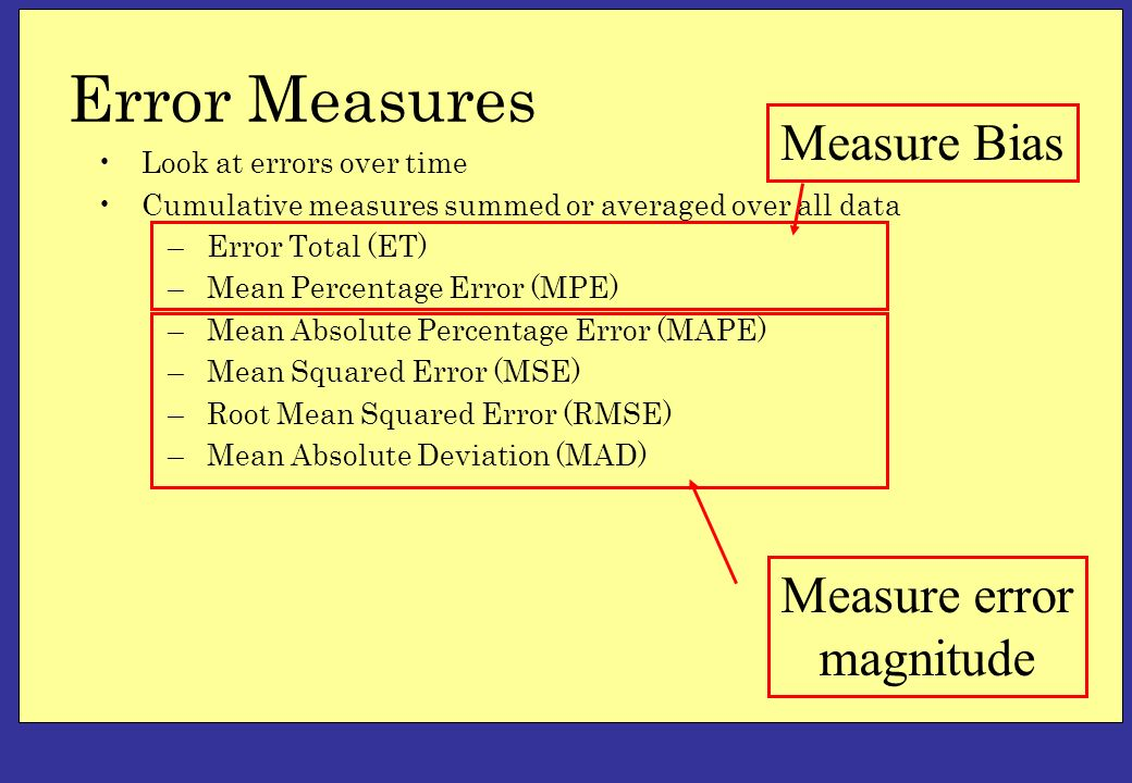 Error Measures Look at errors over time Cumulative measures summed or averaged over all data –Error Total (ET) –Mean Percentage Error (MPE) –Mean Absolute Percentage Error (MAPE) –Mean Squared Error (MSE) –Root Mean Squared Error (RMSE) –Mean Absolute Deviation (MAD) Measure Bias Measure error magnitude