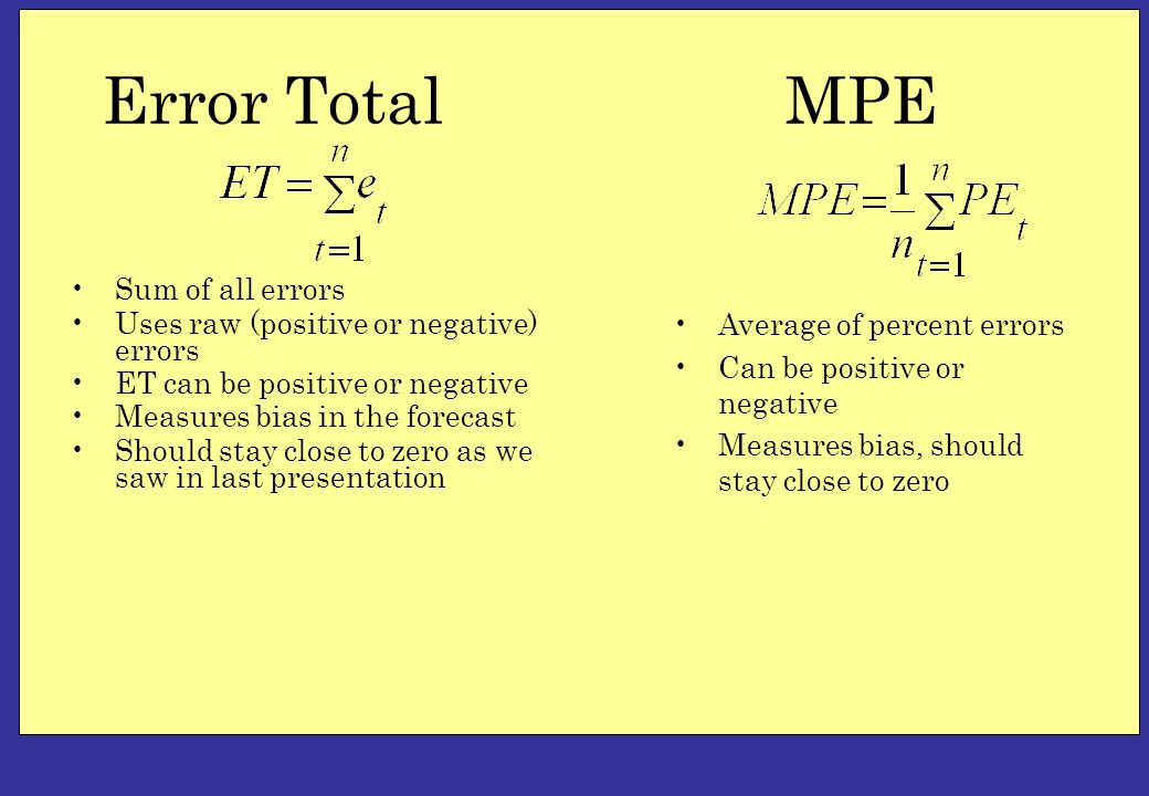 Error Total Sum of all errors Uses raw (positive or negative) errors ET can be positive or negative Measures bias in the forecast Should stay close to zero as we saw in last presentation Average of percent errors Can be positive or negative Measures bias, should stay close to zero MPE