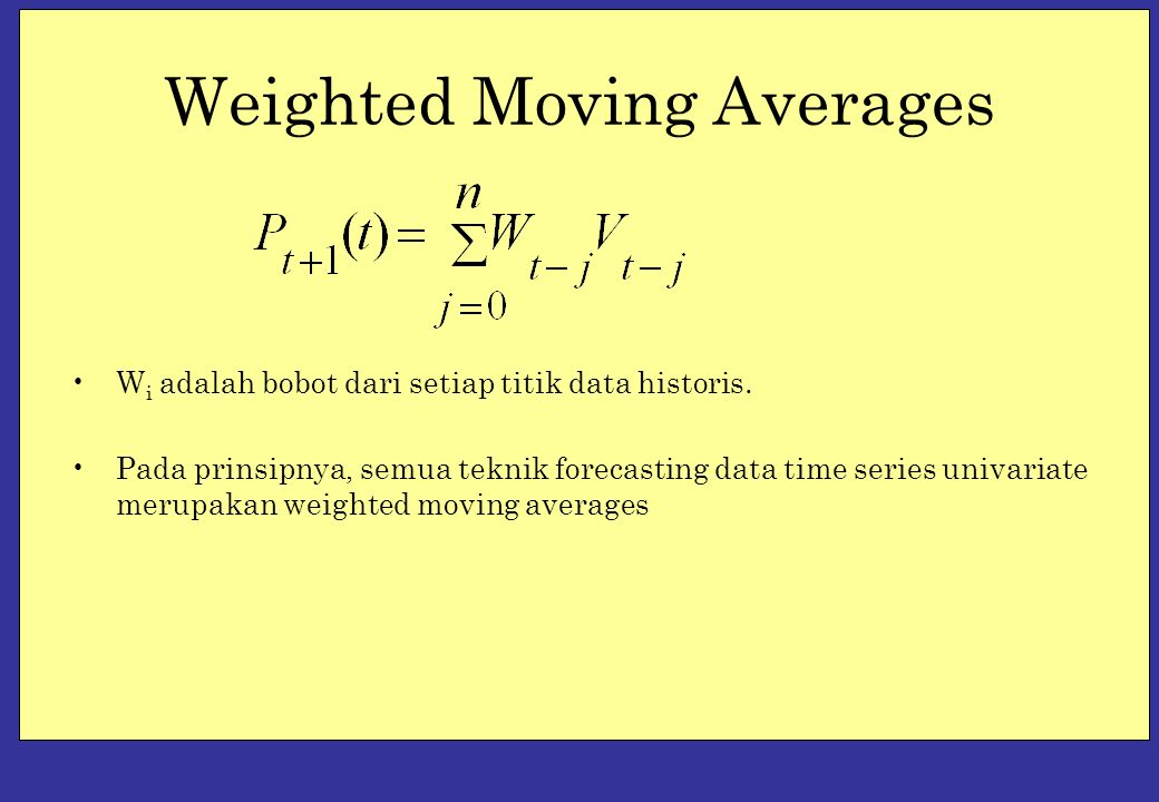 Weighted Moving Averages W i adalah bobot dari setiap titik data historis.