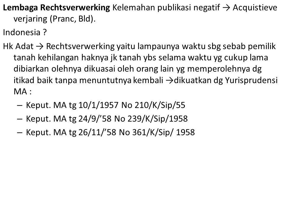 Lembaga Rechtsverwerking Kelemahan publikasi negatif → Acquistieve verjaring (Pranc, Bld).