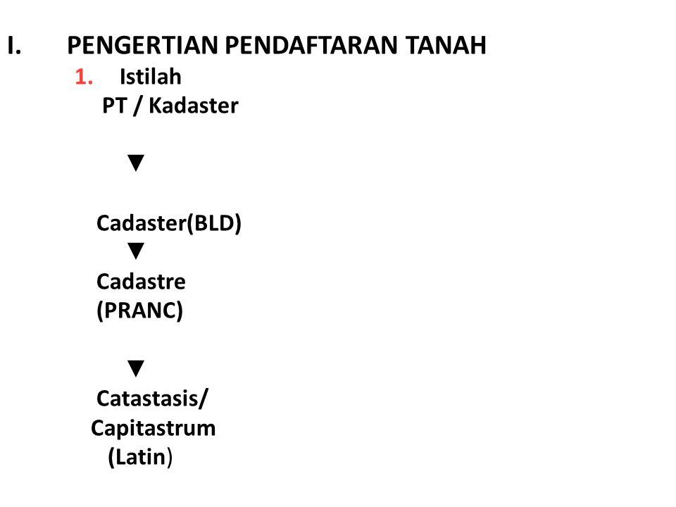 I.PENGERTIAN PENDAFTARAN TANAH 1.Istilah PT / Kadaster ▼ Cadaster(BLD) ▼ Cadastre (PRANC) ▼ Catastasis/ Capitastrum (Latin)