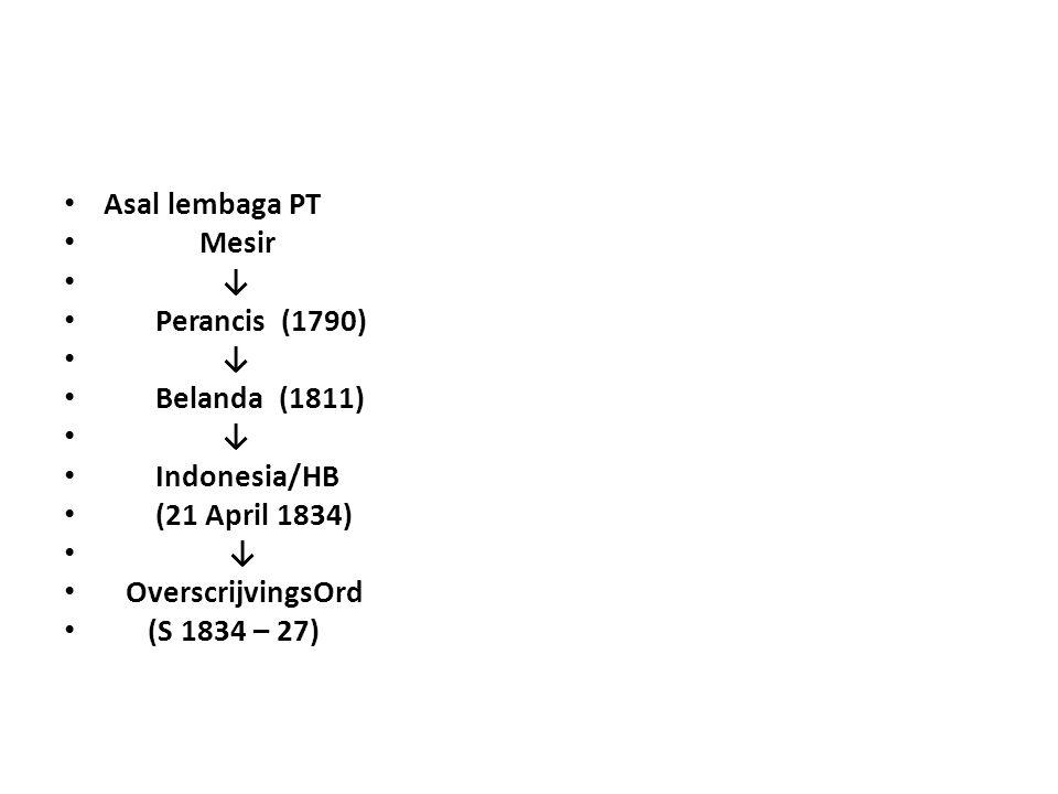 Asal lembaga PT Mesir ↓ Perancis (1790) ↓ Belanda (1811) ↓ Indonesia/HB (21 April 1834) ↓ OverscrijvingsOrd (S 1834 – 27)