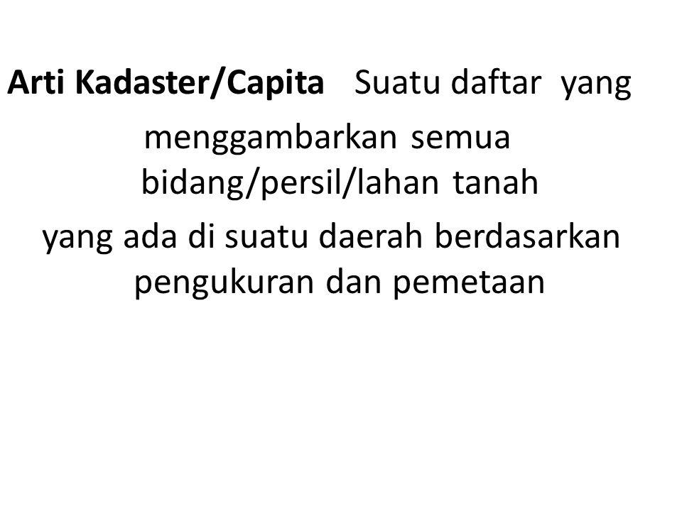 Arti Kadaster/Capita Suatu daftar yang menggambarkan semua bidang/persil/lahan tanah yang ada di suatu daerah berdasarkan pengukuran dan pemetaan