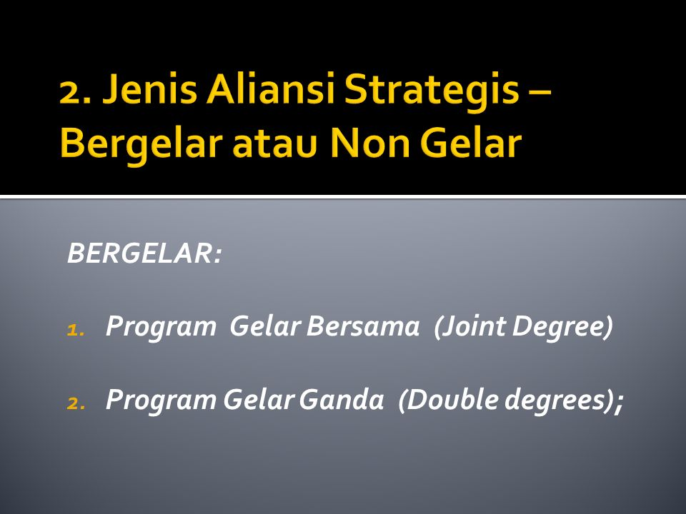BERGELAR: 1. Program Gelar Bersama (Joint Degree) 2. Program Gelar Ganda (Double degrees);