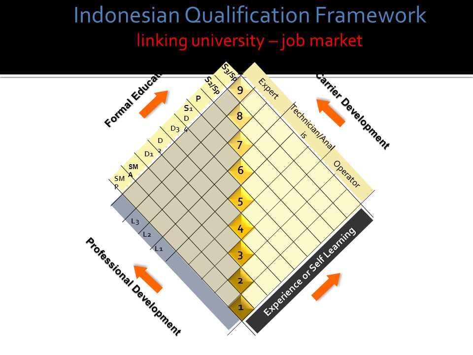 Operator Technician/Anal is Expert Experience or Self Learning SM P SM A D1 D2D2 D3 S1D4S1D4 S 2/Sp S 3/Sp P 1 2 3 4 5 6 7 8 9 Formal Education Carrier Development Professional Development L3 L1 L2 Indonesian Qualification Framework linking university – job market