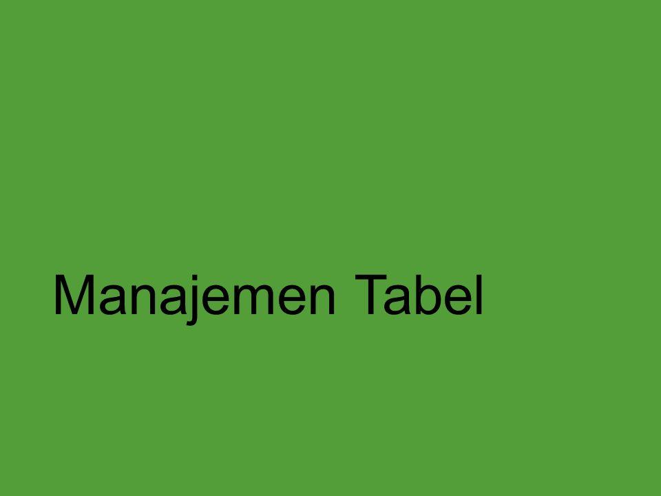 Manajemen Tabel