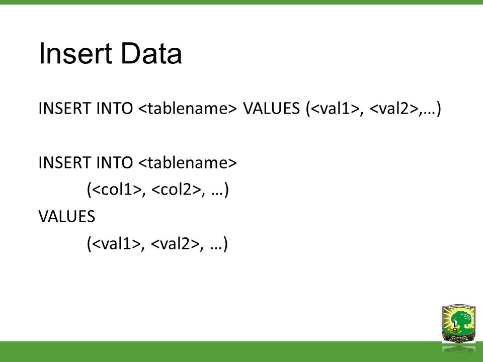Insert Data INSERT INTO VALUES (,,…) INSERT INTO (,, …) VALUES (,, …)