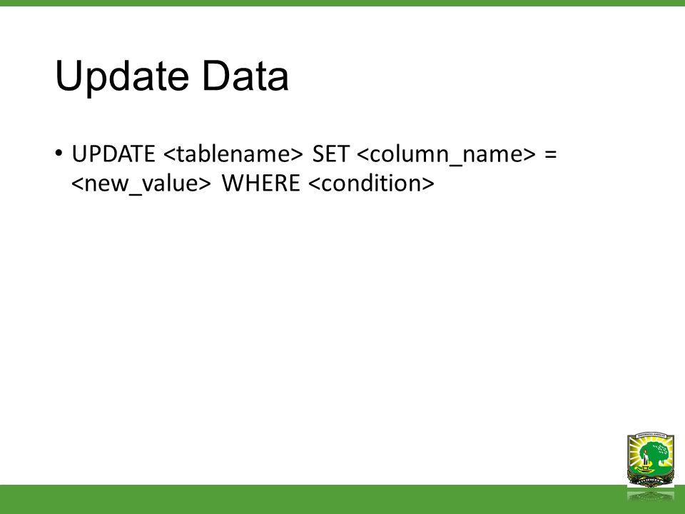 Delete Data DELETE FROM DELETE FROM WHERE condition