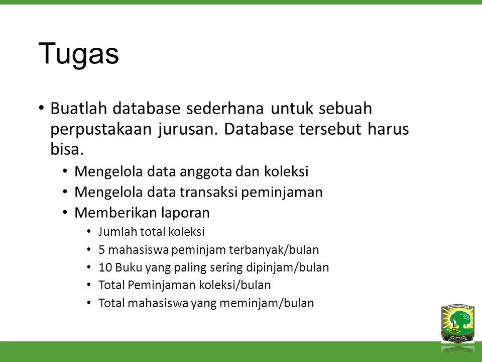 Tugas Buatlah database sederhana untuk sebuah perpustakaan jurusan.