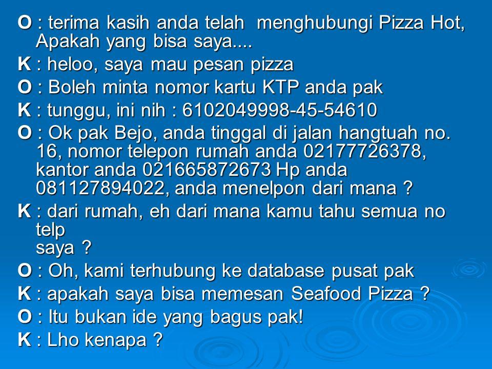 O : terima kasih anda telah menghubungi Pizza Hot, Apakah yang bisa saya....