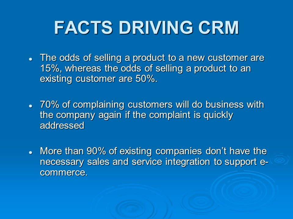 CRM  The goals of CRM business framework : Using existing relationship to grow the revenue Using existing relationship to grow the revenue Enhancing profitability by identifying, attracting, and retaining the best customersEnhancing profitability by identifying, attracting, and retaining the best customers Using integrated information for excellent services Using integrated information for excellent services Using customer's information to better serve his or her needs, you save the customer time and ease any frustration.
