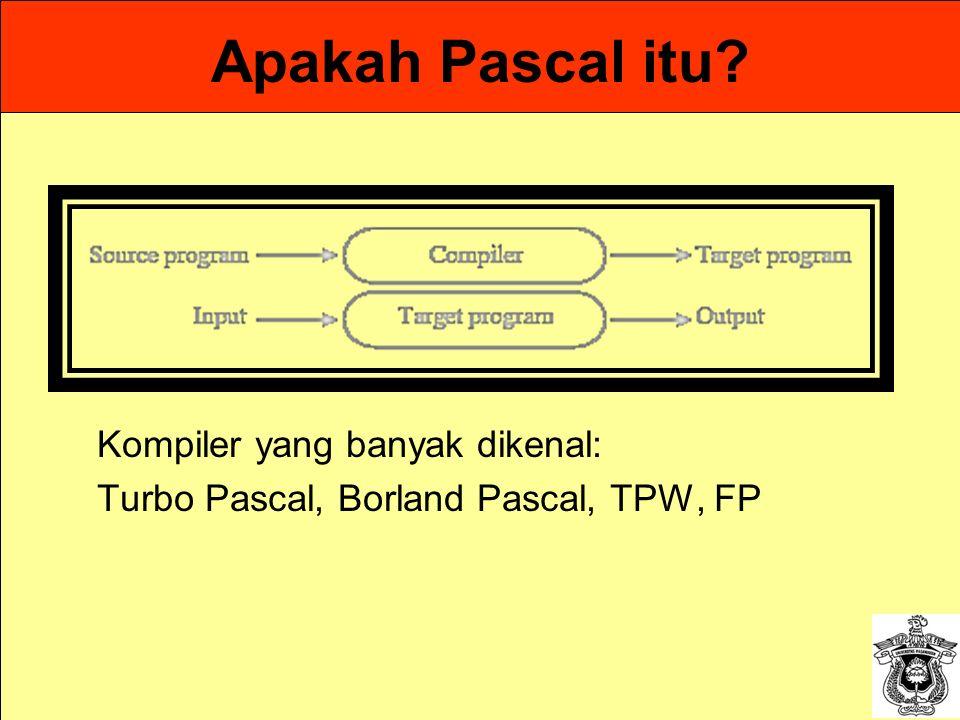 Apakah Pascal itu? Kompiler yang banyak dikenal: Turbo Pascal, Borland Pascal, TPW, FP
