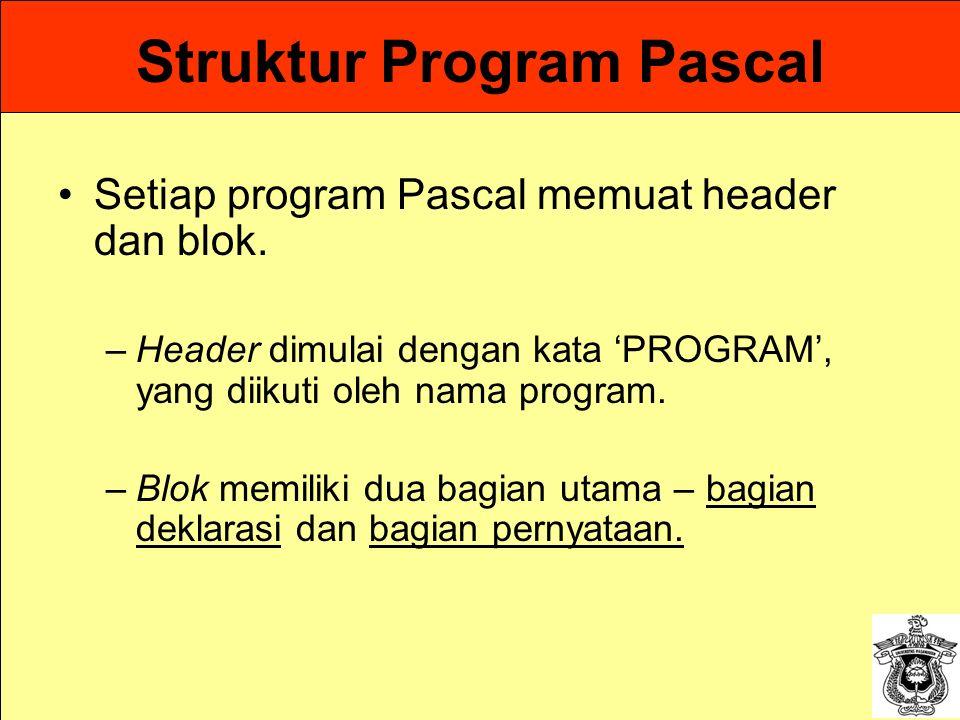 Struktur Program Pascal Setiap program Pascal memuat header dan blok. –Header dimulai dengan kata 'PROGRAM', yang diikuti oleh nama program. –Blok mem