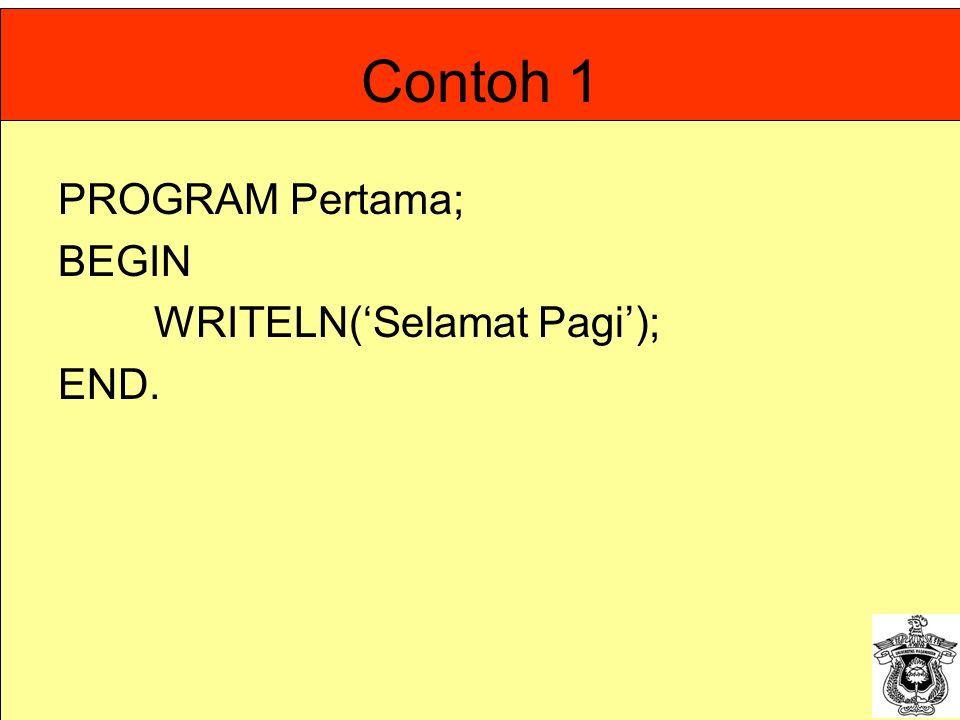 Contoh 1 PROGRAM Pertama; BEGIN WRITELN('Selamat Pagi'); END.