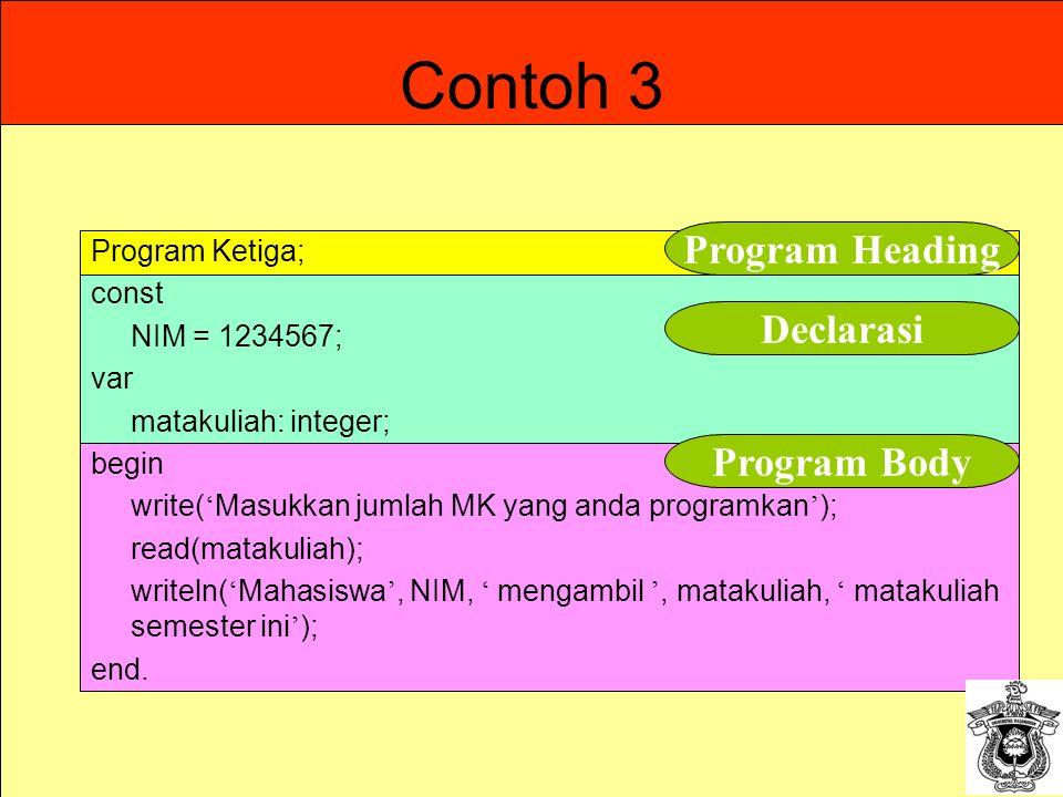 9 Contoh 3 Program Ketiga; const NIM = 1234567; var matakuliah: integer; begin write( ' Masukkan jumlah MK yang anda programkan ' ); read(matakuliah);