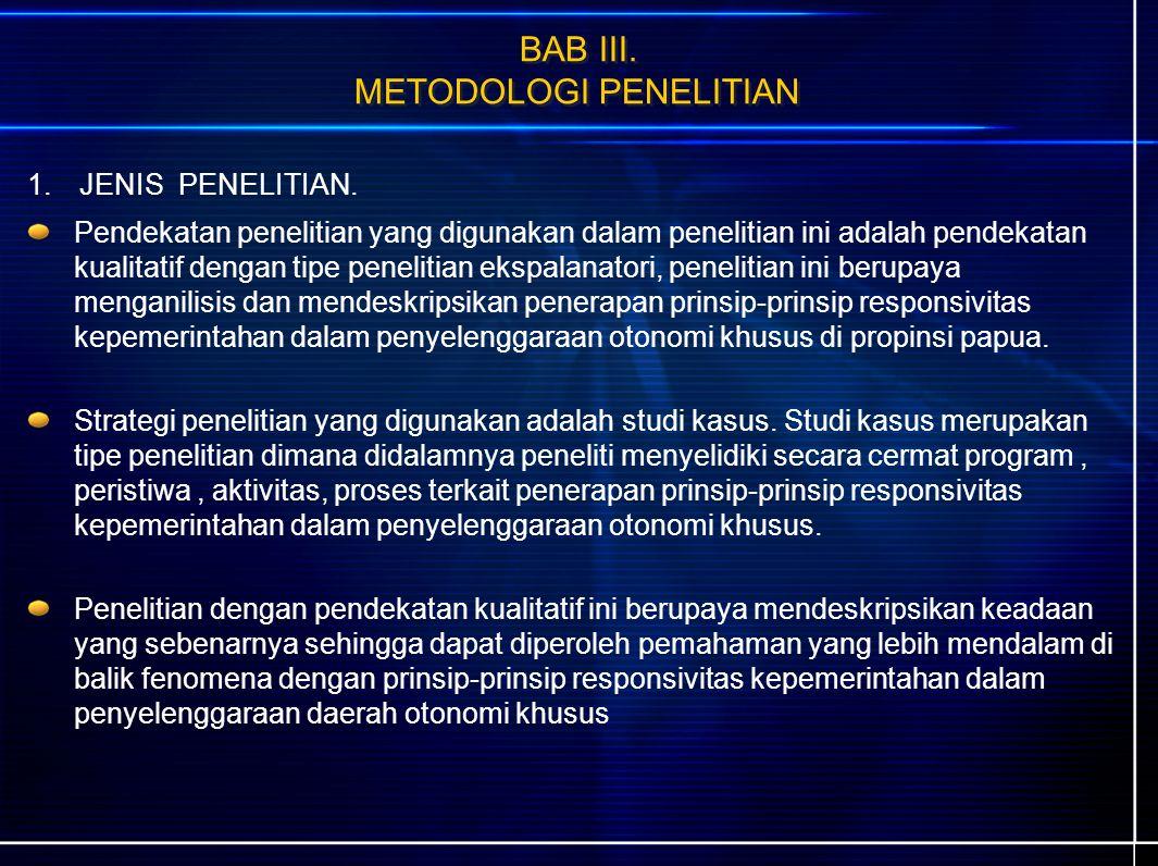 BAB III. METODOLOGI PENELITIAN 1.JENIS PENELITIAN.