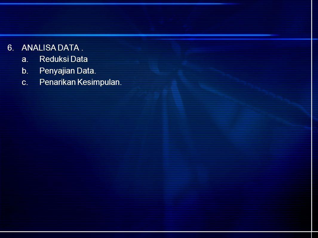 6.ANALISA DATA. a.Reduksi Data b.Penyajian Data. c.Penarikan Kesimpulan.