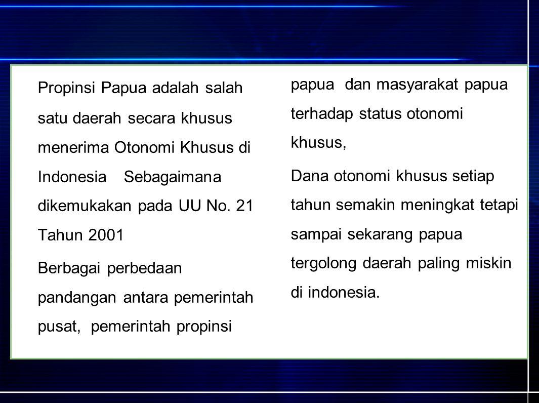 Propinsi Papua adalah salah satu daerah secara khusus menerima Otonomi Khusus di Indonesia Sebagaimana dikemukakan pada UU No.
