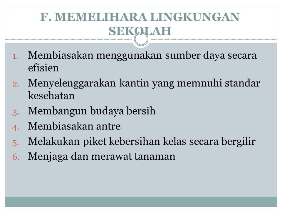 F.MEMELIHARA LINGKUNGAN SEKOLAH 1. Membiasakan menggunakan sumber daya secara efisien 2.