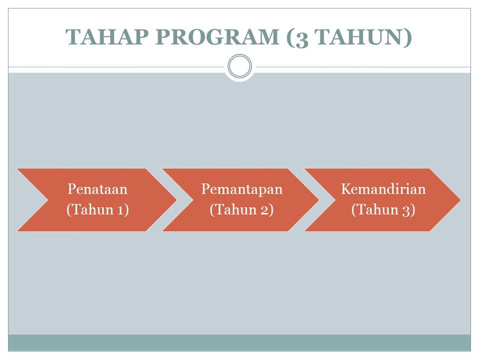 TAHAP PROGRAM (3 TAHUN) Penataan (Tahun 1) Pemantapan (Tahun 2) Kemandirian (Tahun 3)