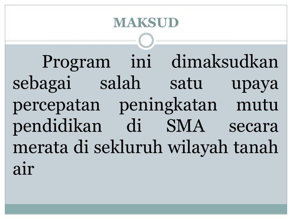 TUJUAN 1.Mendorong upaya sekolah dalam memenuhi Standar Nasional Pendidikan 2.